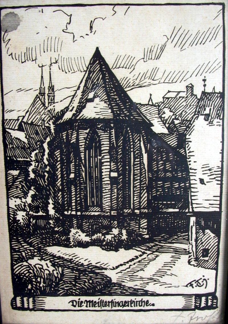 meistersingerkirche in n rnberg holzschnitt 1920 ebay. Black Bedroom Furniture Sets. Home Design Ideas