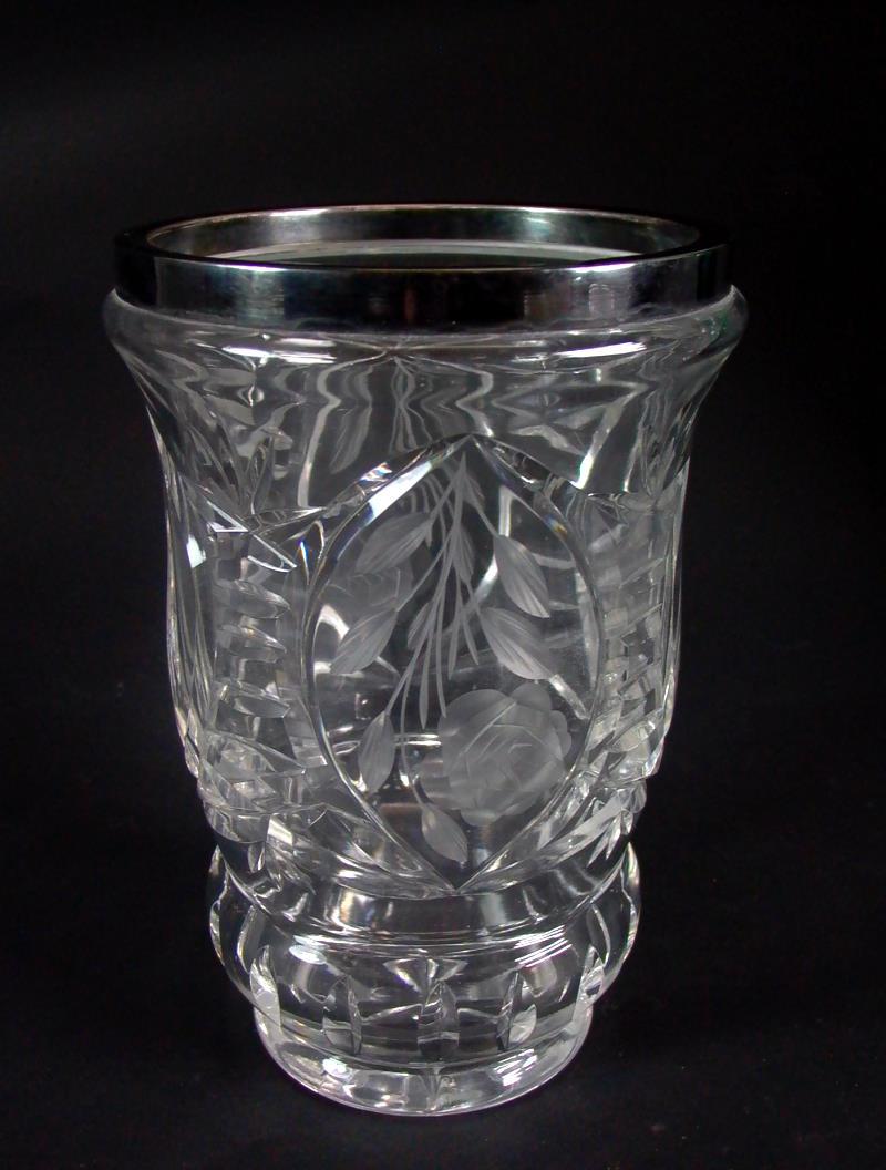 edle kristallglas vase 800er silber montierung ebay. Black Bedroom Furniture Sets. Home Design Ideas